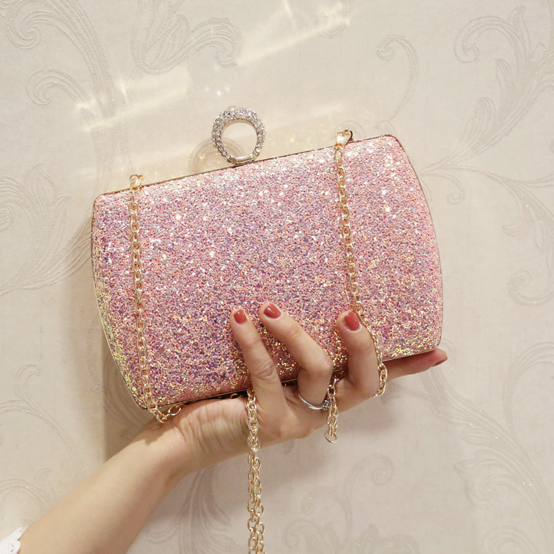 Mrs win Hot Sellers Woman Evening bag Gold Glittered Clutch bags Wallet Wedding Handbags Party Banquet girls shoulder bag YHB130