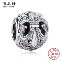 Shipinwei New Arrival 925 Sterling Silver Fleur De Lis Charm With Clear CZ Fit Original Pandora