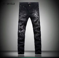 Designer Slim Fit Black Printed Jeans 3D Hunter And Wolf Painted Fancy Jeans High Quality Baggy