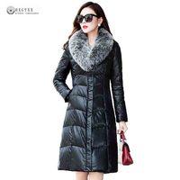 Новинка 2017 года Лидер продаж зима Искусственная кожа пальто Для женщин большой меховой воротник из искусственной кожи Кожаные куртки белая...