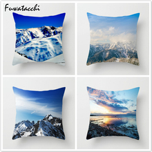 купить Fuwatacchi Mountain Style Cushion Cover Hill Cloud Printed Pillow Cover Throw Pillow Decorative Pillows for Sofa Car Bedroom дешево