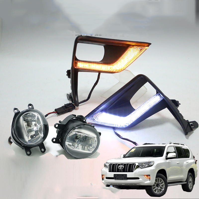 LED Front Fog Lamp Daytime Running Light Turning light 3 function For Toyota Land Cruiser Prado 150 FJ150 2018 2019 Accessories