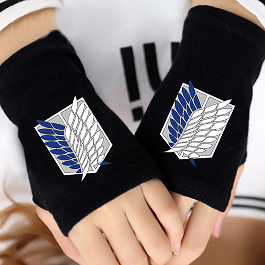 2017 Winter Anime Attack on Titan Finger Cotton Knitting Wrist Gloves Anime Accessories Cosplay Fingerless Gift 121602