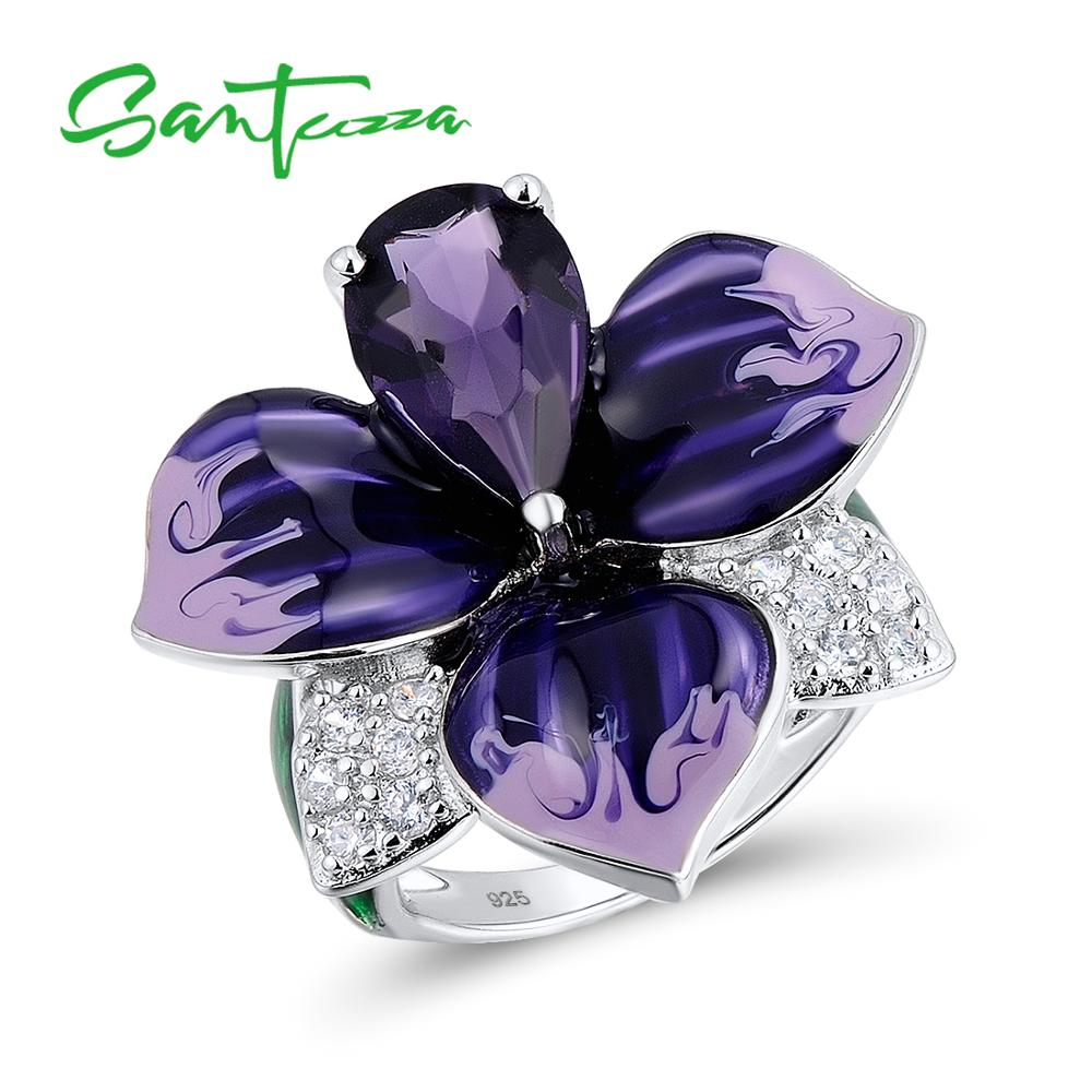 SANTUZZA Silver Ring For Women Authentic 100% 925 Sterling Silver Charming Big Purple Flower Fashion Jewelry Handmade Enamel