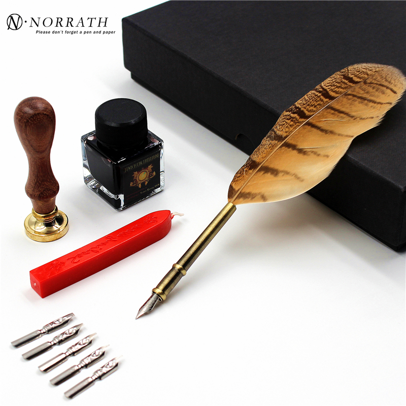 все цены на Excellent Vintage European Feather Fountain Pen Luxury Gift Box Quill Ink Pen With 5 Nibs Stamp Signature Pen Stationery Set