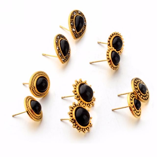 04a3c3701be Shellhard Black Gem Stone Ear Studs Earrings 5 Pairs set Charming Oval  Round Bead Earring Sets For Women Jewelry