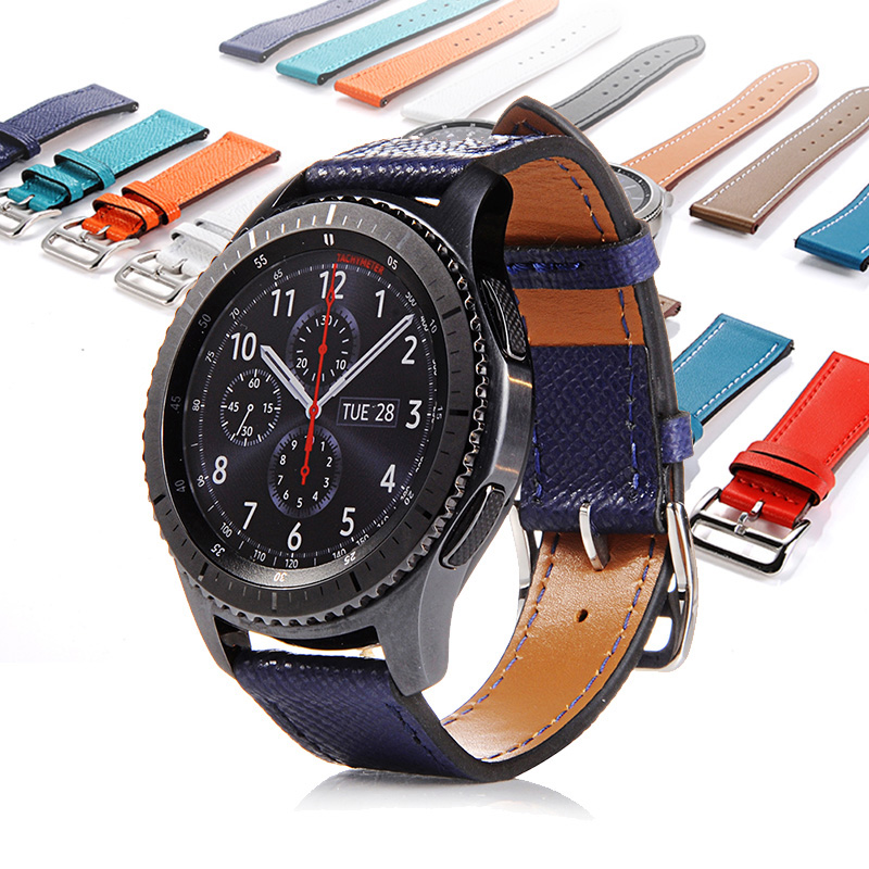 FOHUAS Genuine Leather Wrist Strap for Samsung Gear S3 Frontier Silicone Watch Band for Samsung Gear S3 Classic Bracelet Band 22 silicone sport watchband for gear s3 classic frontier 22mm strap for samsung galaxy watch 46mm band replacement strap bracelet