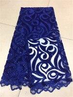 2018 derniers lacets bleu Royal français net avec des tissus de tissu de velours de haute qualité Tulle africain lacets tissu mariage nigérian