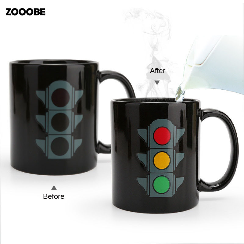 ZOOOBE Creative Gifts Magic Traffic light Coffee Milk Mugs Hot Drink Cup Color Changing Mug Drinkware Tea Cup Birthday Present