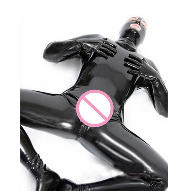 Men Latex PVC Catsuit Sexy Lingerie Faux Leather Night Club Bodysuit Gay Fetish Cosplay Zipper Open Crotch Erotic Wear Costumes