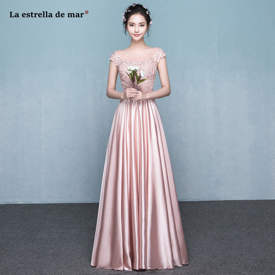 Vestido de madrinha de casamento longo2018 new lace and silk satin cap sleeve aLine pink red bridesmaid dress plus size cheap