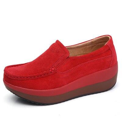 SWYIVY/Женская обувь на толстой подошве; коллекция года; сезон лето; большие размеры 42; обувь для танцев из натуральной кожи; женская обувь для похудения - Цвет: Красный
