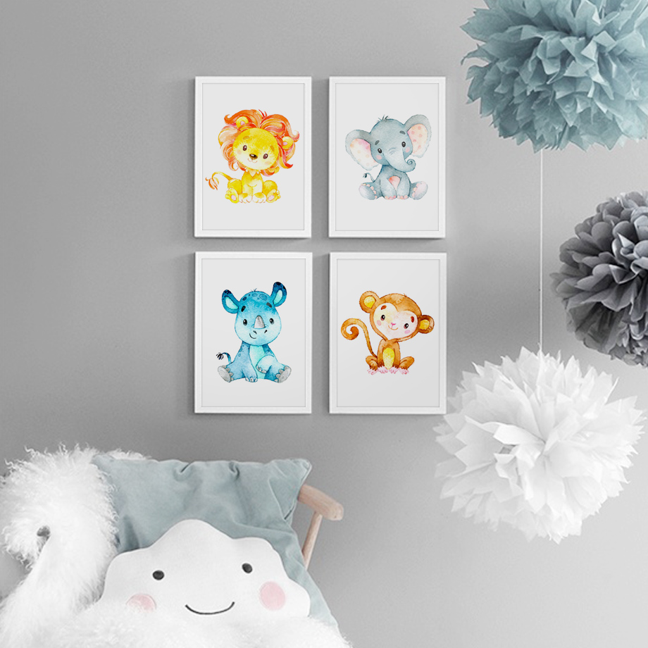 Giraffe Lion Elephant Monkey Nordic Posters And Prints Wall Art Canvas Painting Nursery Wall Pictures Baby Room Decoration Home in Painting Calligraphy from Home Garden