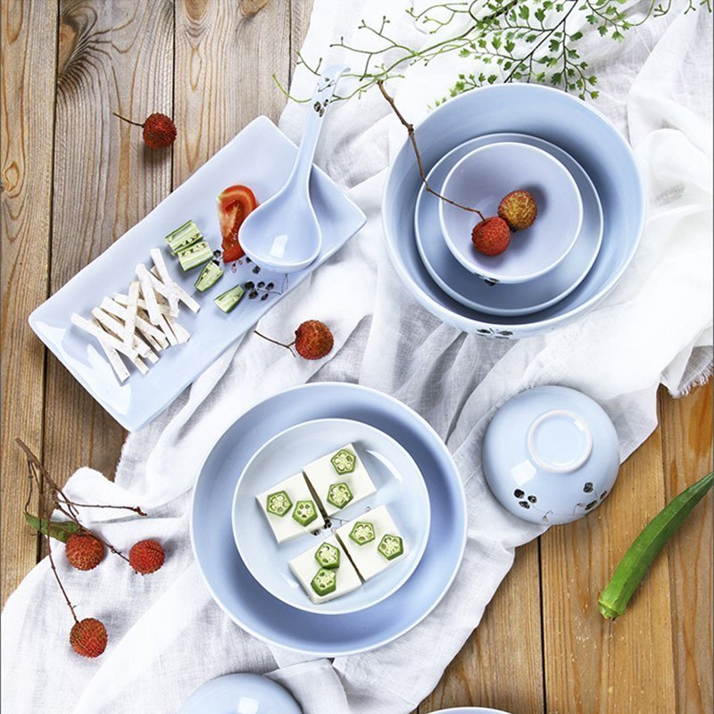 brand high quality ceramic tableware under glazed 4.5 inch rice bowls porcelain 8 inch bowl plates Japan style creative blue