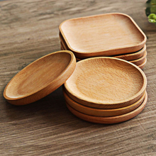 1pc Square /Round  Cake Bowls orphanages home / restaurant School serving dessert tray wood dish for sushi tableware HY