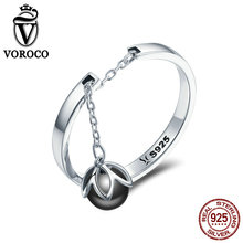 VOROCO Real 925 Sterling Silver Freshwater Pearl Rings Romantic Tears Of Flower Dangle Open Ring Woman Anniversary Jewelry