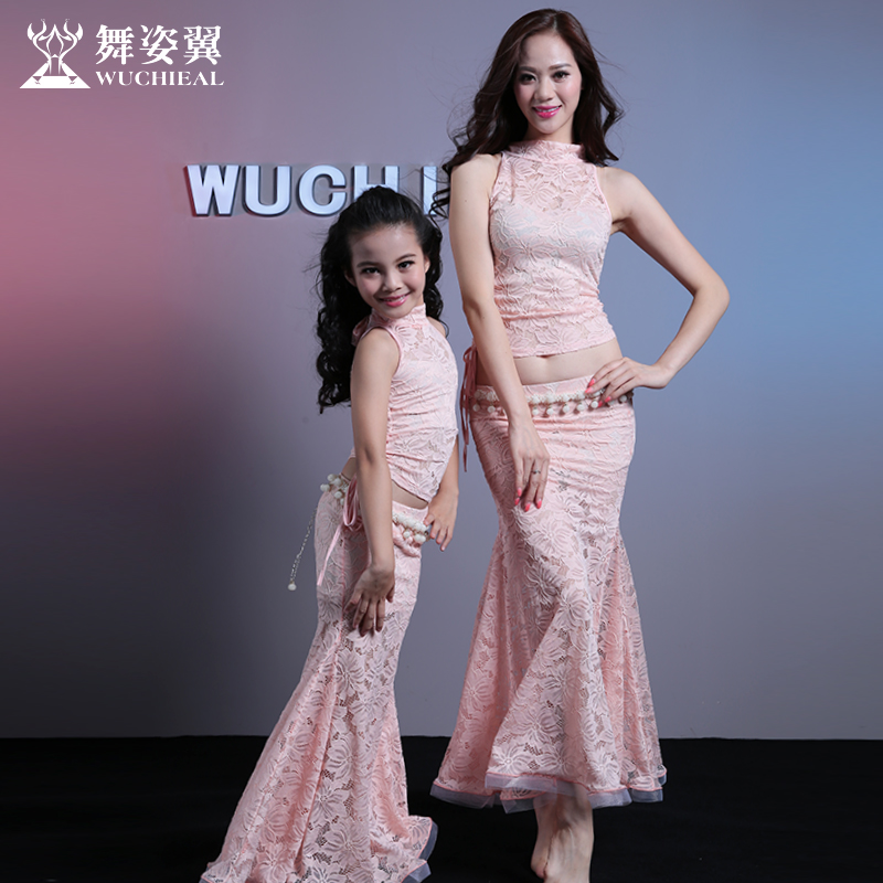 Bellydance Costume Bellydance Costume Wuchieal Brand Woman Belly Dance Sexy Top+ Skirt 2pcs/suit Set For Adult And Kid 2599