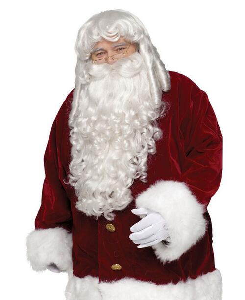 Hot heat resistant Kanekalon Party hair FREE SHIPPING>>Professional Quality Santa Wig Beard Christmas Adult Costume Accessory