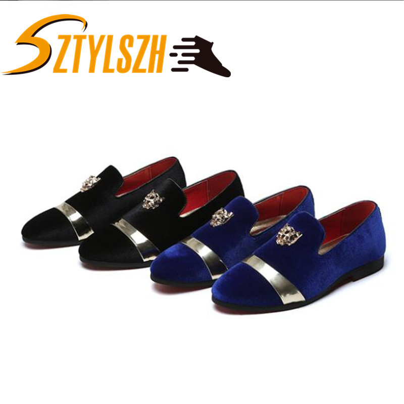 Fashion Party And Wedding Handmade Men Loafers Shoes Velvet Shoes With Tiger And Gold Buckle Men Dress Shoe Men's Flats 37-48