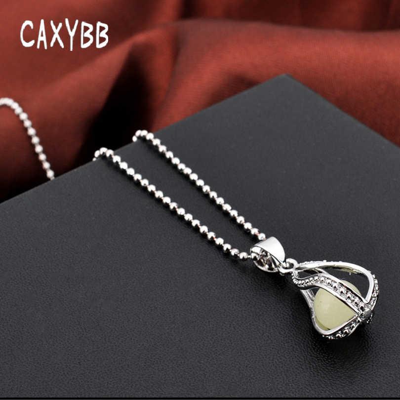 Caxybb Steampunkเรืองแสงในที่มืดสร้อยคอสีเงินกับหินเรืองแสงจี้จี้เค้นคอเมอร์เมดสร้อยคอเครื่องประดับ