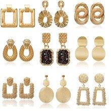 Винтажные серьги, большие для женщин, массивные серьги, геометрические, золотой цвет, металлическая подвеска, серьги, трендовые, модные ювелирные изделия
