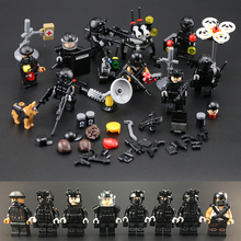 HOT 8pcs SAWT city Police Modern military special police commando special forces weapons building blocks Figures toys LegoINGlys