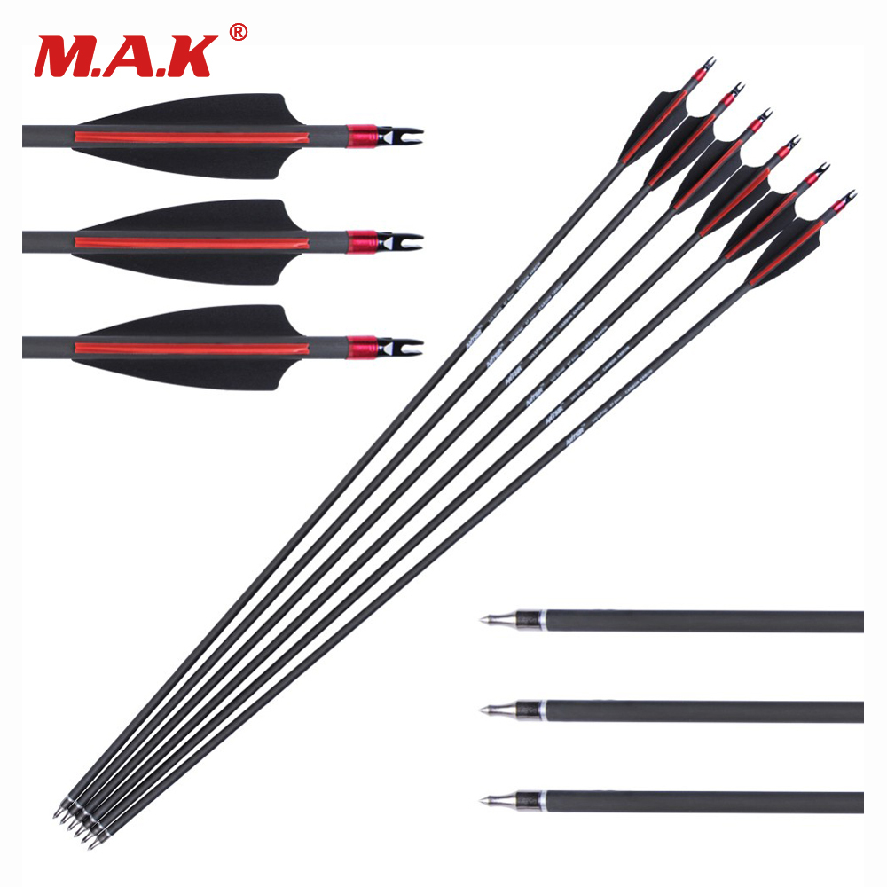 6/12/24 pcs Carbon Arrow Length 30 Inches Spine 340 Diameter 7.6mm 2 Black 1 Red Feather for Recurve CompoundBow Archery Hunting аксессуар чехол для xiaomi redmi note 5 note 5 pro g case slim premium black gg 953