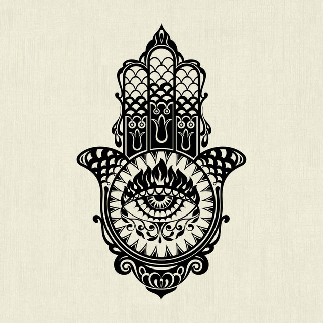 hamsa hand wall decal beautiful vinilos decorativos special design hand of fatima eye buddha. Black Bedroom Furniture Sets. Home Design Ideas