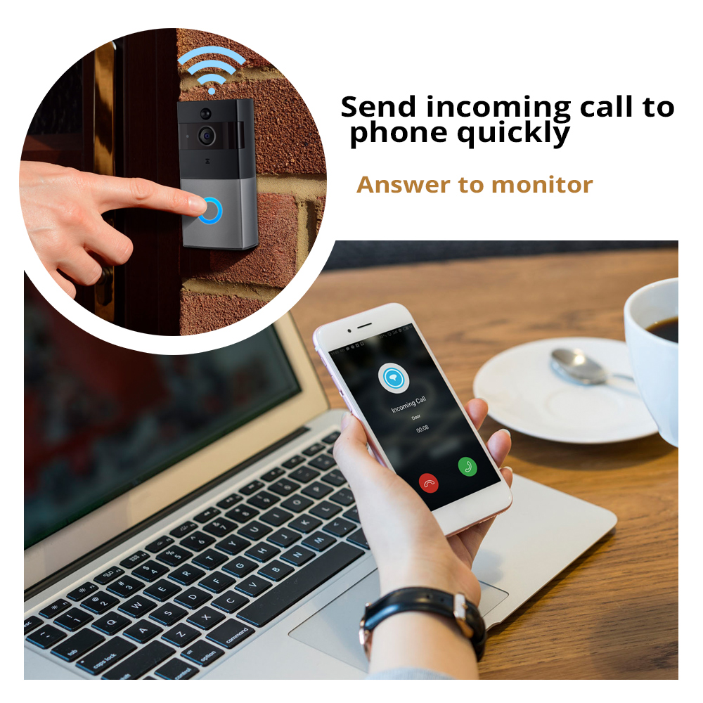 Image 2 - Smart WiFi Wireless Doorbell Camera Ring Visual Intercom Video Doorbell Phone Remote Home Security Monitoring Night Vision-in Doorbell from Security & Protection