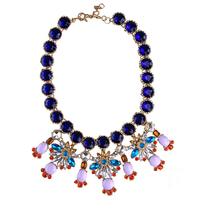 CirGen,Fashion Women Brand Vintage bijoux Big Blue Crystal Chain Collar Flower Pendant Statement Choker Necklace Jewelry Item