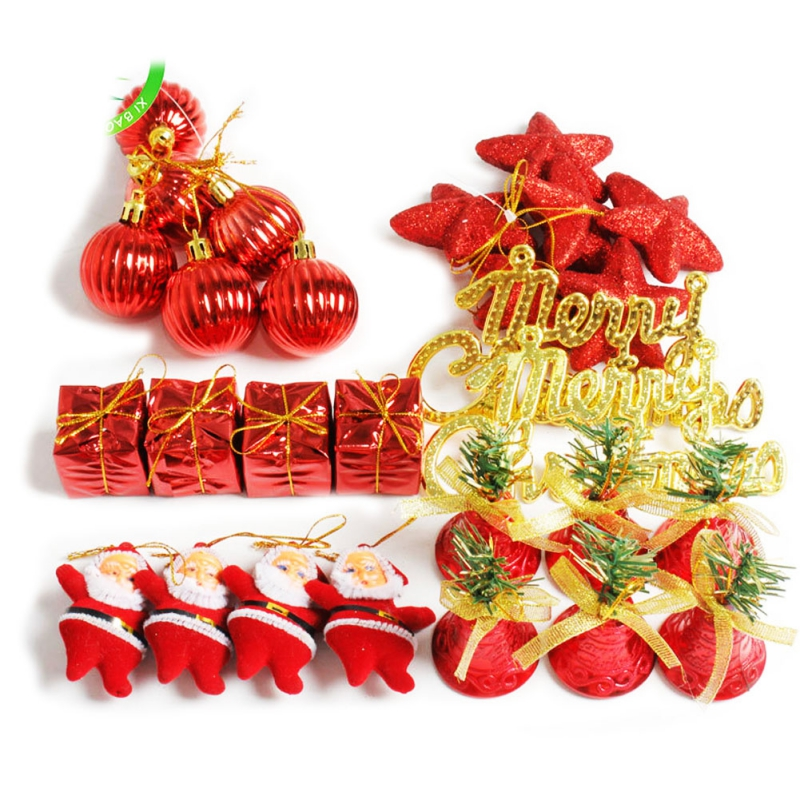 Christmas Ornament Sets.Us 3 78 21 Off 28pcs Christmas Decor Ornaments Sets Star Santa Claus Bell Hanging Decor New Year Wall Hanging For Home Shop Display Window In