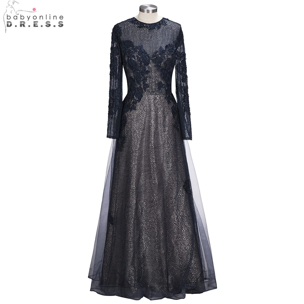 Babyonline Long Sleeves Lace A Line   Evening     Dresses   2019 Sexy Sheer Back Lace Appliques Formal Party Gowns vestido de festa