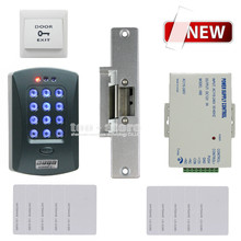 DIYSECUR Full Kit Set 125KHz RFID Password Keypad Access Control System Security Kit + Electric Strike Lock V2000-C