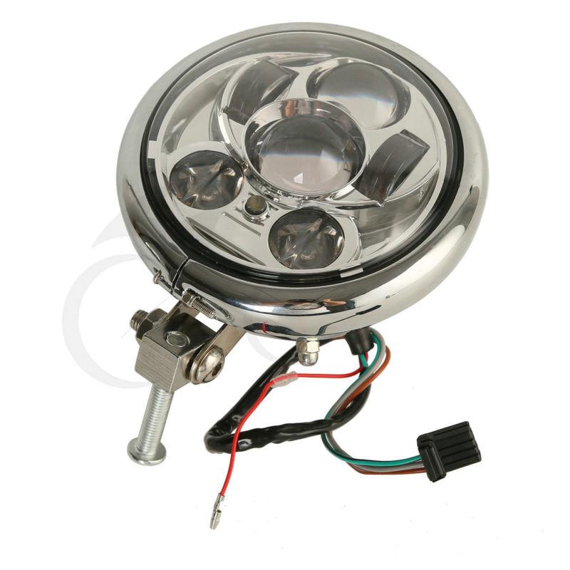 Moto 5.75 Chrome/Noir LED Phare Ampoule Avec Logement Convient Pour Harley Davidson XL1200X Dyna Fat Bob