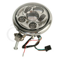 TCMT Motorcycle Round 5 75 Chrome LED Hid Headlight Bulb W Housing Fits For Harley Davidson