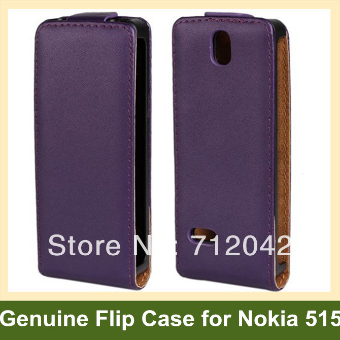 Luxury Genuine Leather Flip Cover Case for Nokia 515 with Magnetic Snap Free Shipping