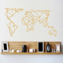 Origami World Map Wall Stickers Home Decor Vinyl Wall Decal Creative Pattern Removable Mural For Living Room все цены