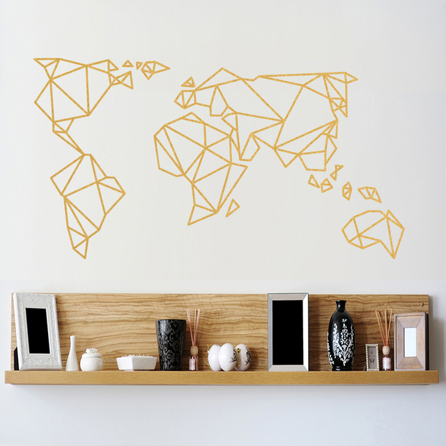 20a8d972e Origami World Map Wall Stickers Home Decor Vinyl Wall Decal Creative  Pattern Removable Mural For Living