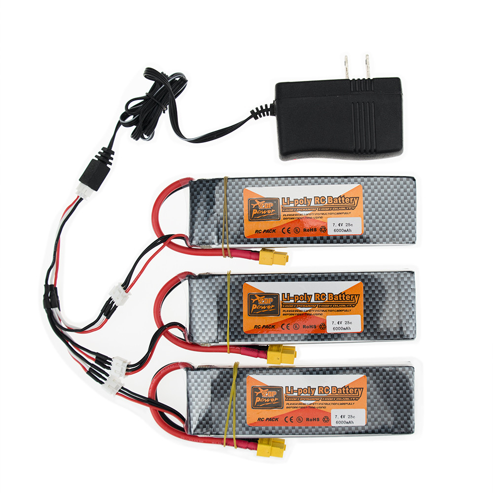2S lipo battery 7.4v 6000mAh 25C For rc helicopter rc car boat quadcopter Li-Polymer battey 3pcs with charger set yukala ft012 2 4g rc racing boat hq734 rc car 11 1v 2700 mah li polymer battery