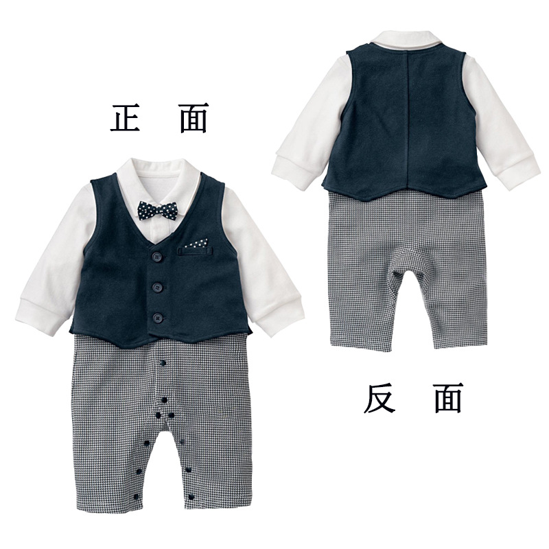 Baby Kid Boy Cotton Gentleman Jumpsuit Romper Clothes Outfit Newborn Boys Wedding suit 2 pieces clothing set