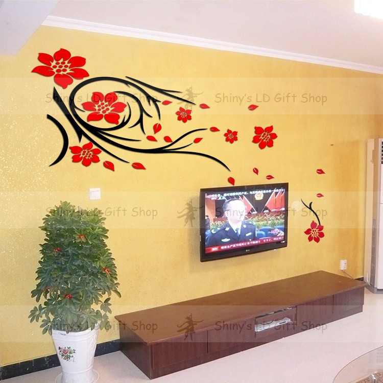 Mix Wholesale Order Red Black Fashion flower Stickers Living Room ...