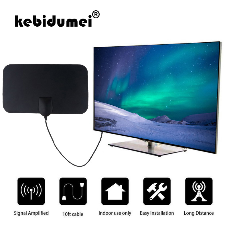 Kebidumei antena digital hd 120x210mm, plana, interna, digital, hd, área interna, antena para tv, hdtv, captura de sinal alto para tv com 5 cabo m