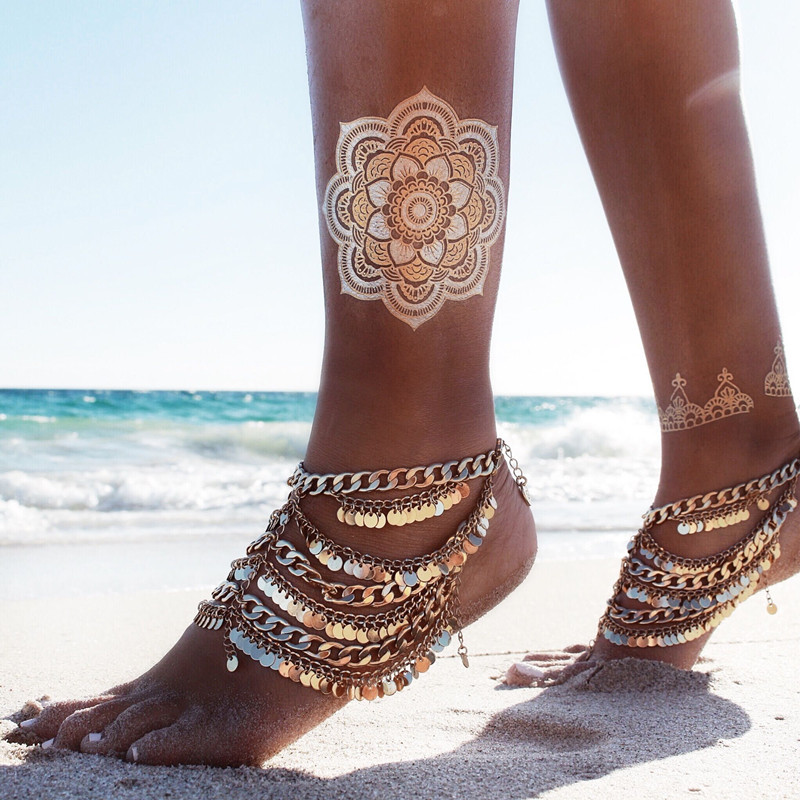 Summer Gold Plated Fashion Bohemian Moon Lovers Turkish Coin Antalya Anklet Gypsy Beachy Coachella Bohemian Foot