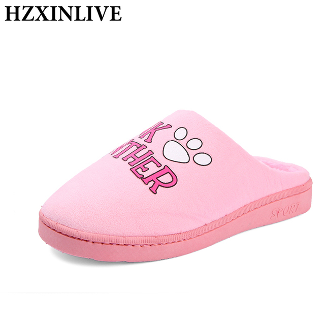 HZXINLIVE 2018 Indoor Women Slippers Corduroy Animal Slippers Home Slippers Animal Prints Winter Short Plush House Women Shoes