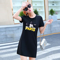 18 Color Summer Dress 2016 Fashion Women A-Line O-Neck Short-Sleeve Casual Dresses Cartoon Printed Elegant  Plus Size Vestidos