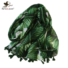 Marte&Joven Women Plantain Leaf Green Scarf with Tassels Soft Polyester Palm Leaves Printed Warm Shawls Wraps Hijabs Muffler цена