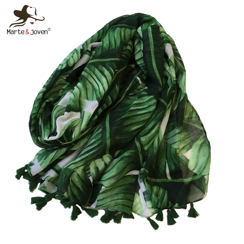 Marte&Joven Women Plantain Leaf Green   Scarf   with Tassels Soft Polyester Palm Leaves Printed Warm Shawls   Wraps   Hijabs Muffler
