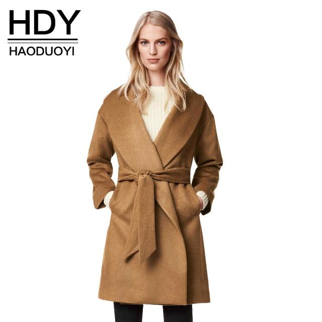 HDY Haoduoyi 2017 Осень Зима Женщины Мода Твердые Светло-Коричневый Карманы Пояса Спереди Плащ V-образным Вырезом Ярус Шерстяные Пальто
