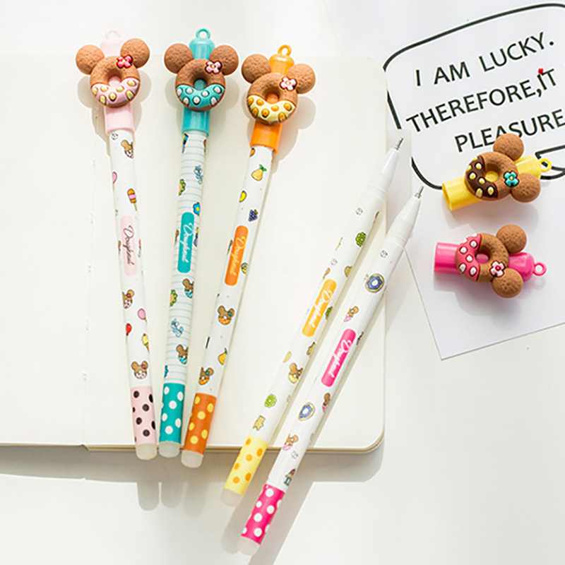 1 Pcs Erasable Pens Cartoon Cute Small Bear Cookies Ink Blue Magic Gel Pen Office Supplies Student Stationery