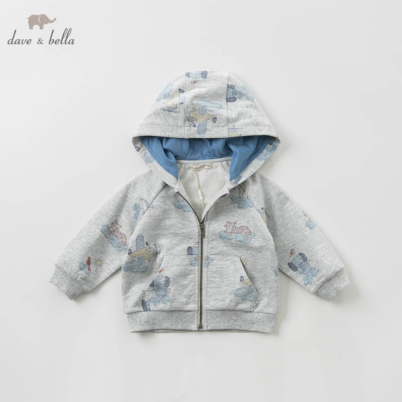 DBA9510 dave bella spring baby boys fashion hooded coat children animal print tops infant toddler boutique
